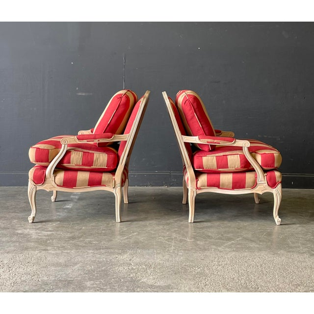 Late 20th Century French Country Style Lounge Chair and Ottoman a Pair For Sale - Image 5 of 11