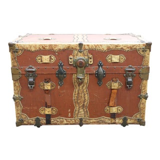 Leather Trunk Chest W/Brass Hardware For Sale
