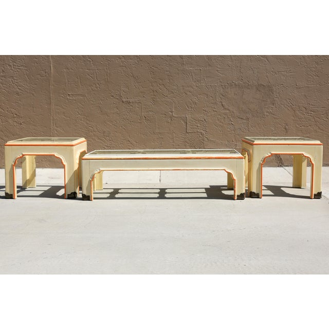 Asian 1960s Hollywood Regency Pagoda Cocktail Table W Brass Inlay and Glass Includes Side Tables - Set of 3 For Sale - Image 3 of 13