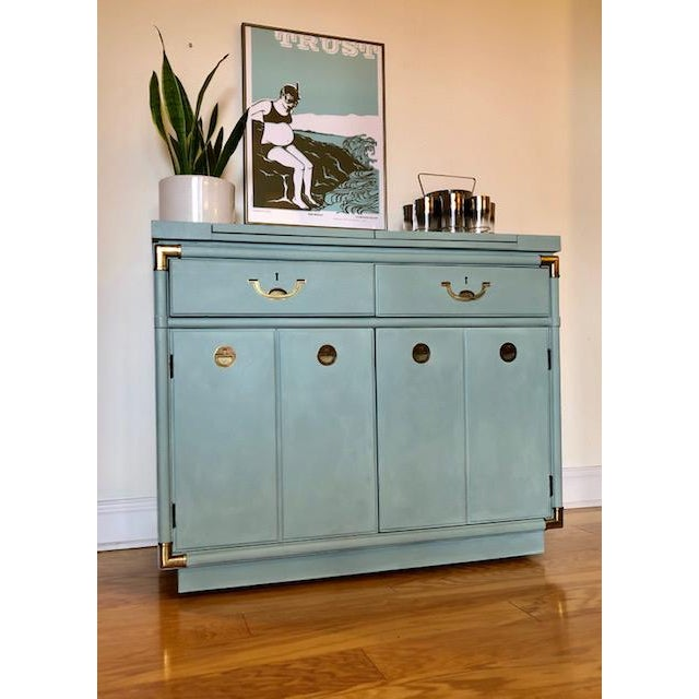 """Now available is this Drexel Accolade II campaign bar or server that is completely refurbished in Annie Sloan's """"Duck Egg..."""