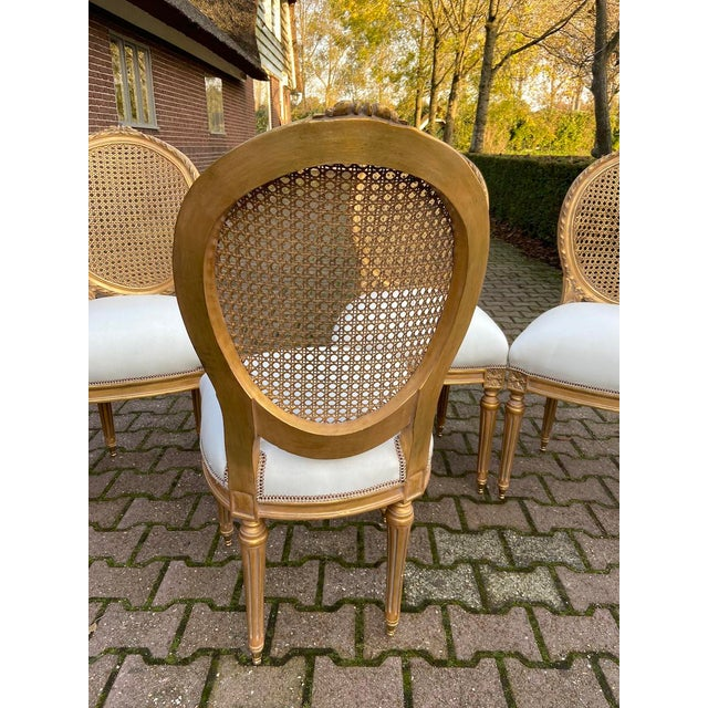 New 4 Chairs in Antique Gold Finish For Sale - Image 4 of 8
