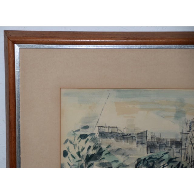"""Mid 20th Century 1954 """"Notre-Dame De Paris Cathedral"""" Watercolor Painting by Riva Helfond For Sale - Image 5 of 10"""