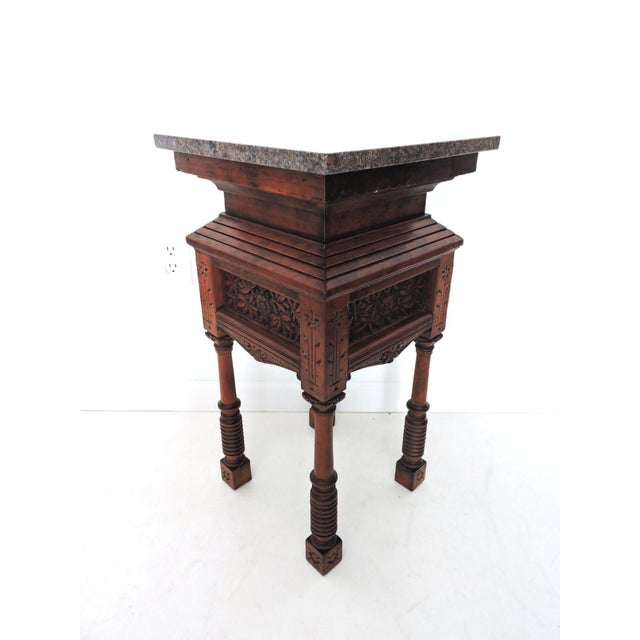 Ottoman With Wood Pedestal ~ Carved ottoman pedestal side table chairish