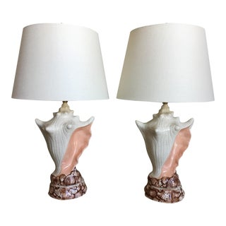 Conch Shell Lamps & Shades - a Pair