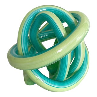 Green and Turquoise Hand Blown Glass Knot For Sale