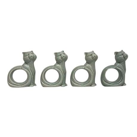 Ironstone Celadon Cats Napkin Rings - Set of 4 - Image 1 of 9