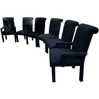 1980s Hollywood Regency Black Dining Chairs - Set of 6 For Sale