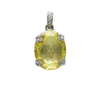 Judith Ripka Canary Crystal Sterling Silver Pendant Pearl Enhancer For Sale
