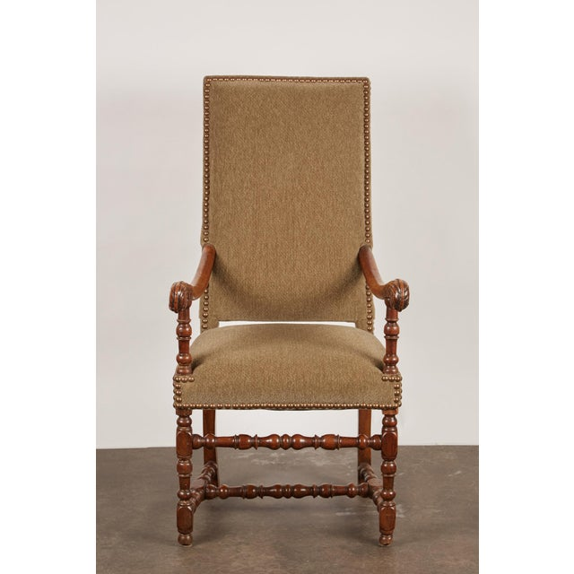 French 17th Century Louis XIII French Walnut Armchair with Upholstery For Sale - Image 3 of 11