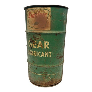 Vintage Industrial Green Sinclair Lubricant Metal Barrel