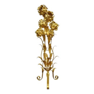 Vintage 6-Light Italian Hollywood Regency Gold Gilt Floral Tole Metal Floor Lamp For Sale