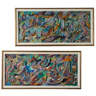 Mid Century Colorful Abstract Original Oil on Masonite Paintings - a Pair For Sale