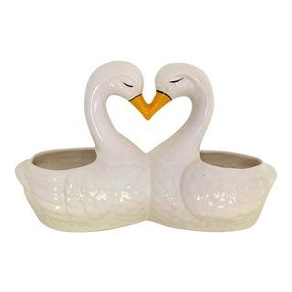 Vintage Mid Century Brazilian Ceramic Kissing Swans Double Planter For Sale