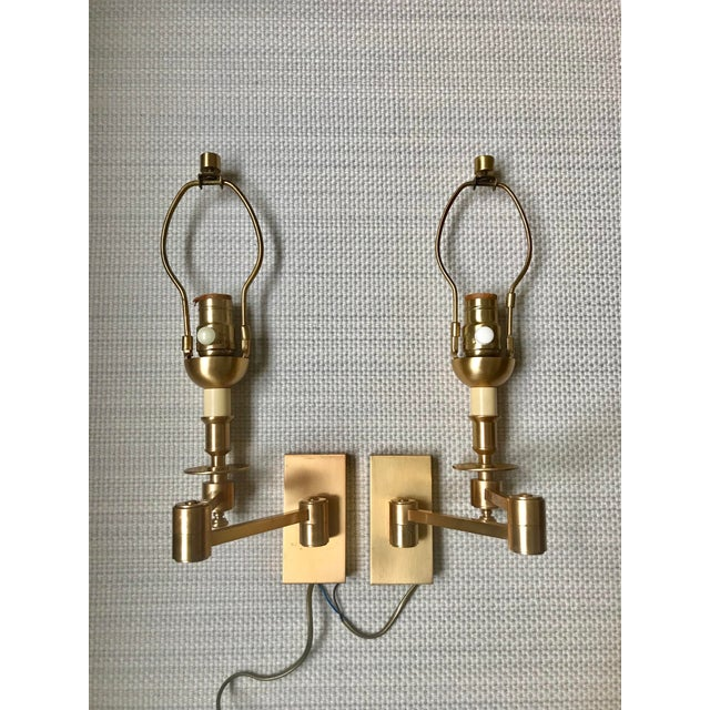 1970s Hinson Style Brass Swing Arm Wall Sconces - a Pair For Sale - Image 13 of 13