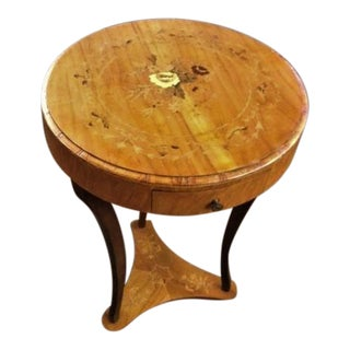 Biedermier Style Inlaid Accent Table With Drawer
