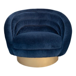 Modern Navy Blue Velvet Custom Swivel Club Chair For Sale