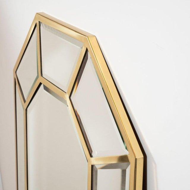Mid-Century Modern Segmented Octagonal Polished Brass Mirror For Sale In New York - Image 6 of 7