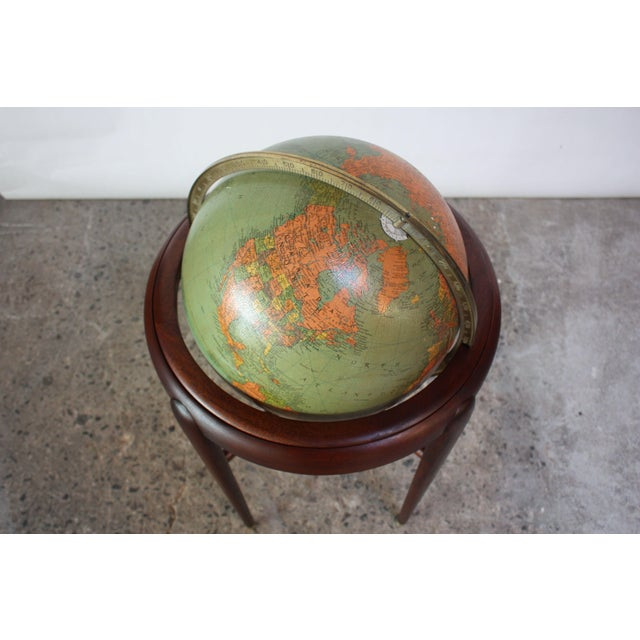 Mid-Century Modern 1960s Replogle Illuminated Glass Globe on Mahogany Stand For Sale - Image 3 of 13