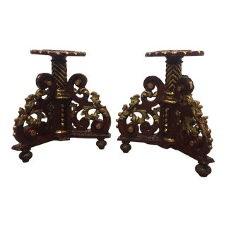 Antique Italian Hand Painted Red Gilded Stands - a Pair For Sale