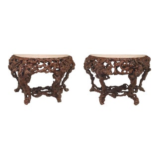 18th Century Chinese Rustic Style Root Console Tables - a Pair For Sale