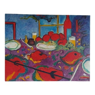 Original Abstract Still Life Fauvism Painting After Manel Anoro For Sale