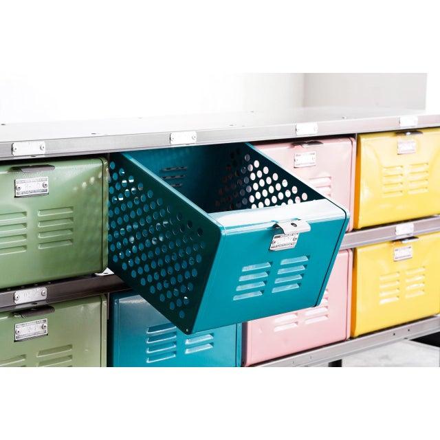 Multi-Colored Vintage Locker Basket Unit, Refinished For Sale - Image 4 of 6