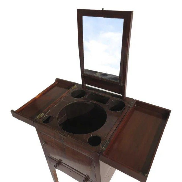 Late 18th Century English Mahogany Enclosed Lift Top Dressing Stand For Sale - Image 5 of 10