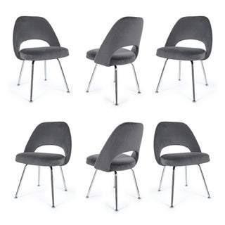 Saarinen Executive Armless Chairs in Gunmetal Velvet - Set of 6 Preview