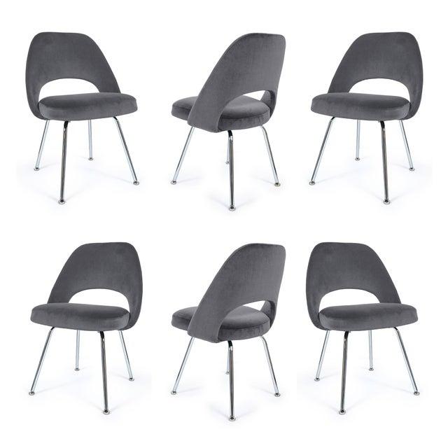 Saarinen Executive Armless Chairs in Gunmetal Velvet - Set of 6 - Image 2 of 5