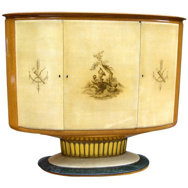 1940 Italian Parchment Cabinet or Bar With Bird's-Eye Maple Interior For Sale - Image 10 of 10