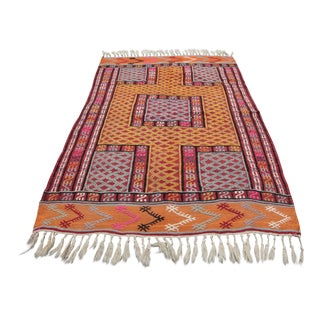 1950s Vintage Turkish Tribal Orange Wool Kilim Rug - 3′6″ × 4′10″ For Sale