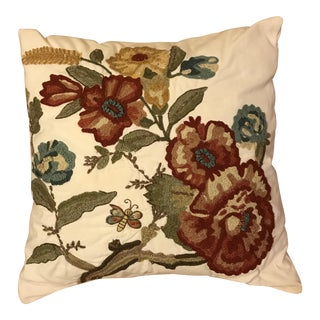 Pottery Barn Stitched Floral Pillow
