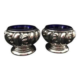 Art Nouveau Open Salts With Cobalt Liners - a Pair For Sale