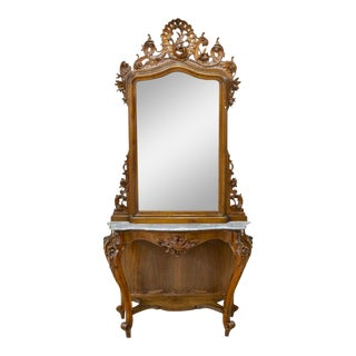Antique Console and Mirror, Italian Louis XV Style, 2 Pieces, Beautiful! For Sale