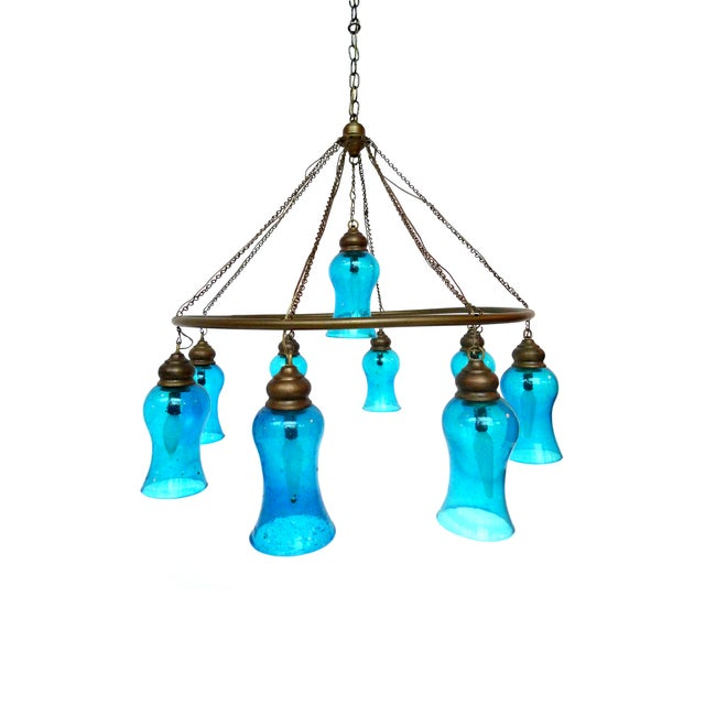 Handblown Blue Glass Chandelier - Image 1 of 5