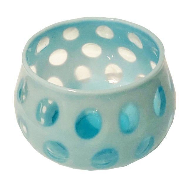 1950s Fenton Blue Opalescent Coin Dot Bowl For Sale