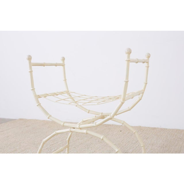 Mid 20th Century Mid-Century Modern Italian Faux Bamboo Vanity Stool or Bench For Sale - Image 5 of 13