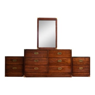 Mid Century Modern Walnut Champaign Dresser With Mirror & 2 Nightstands With Glass Tops - Set of 3 For Sale
