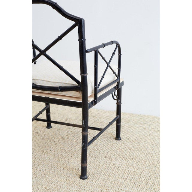 Fabric Chinese Chippendale Faux Bamboo Iron Garden Chairs For Sale - Image 7 of 13