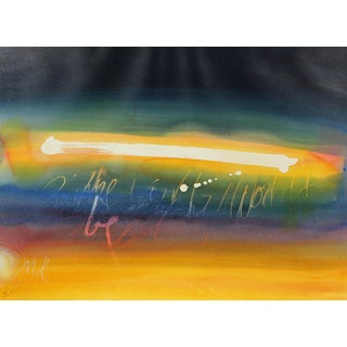 Colorful Abstracted Text Late 20th Century Watercolor For Sale