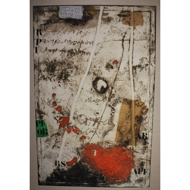 Limited Edition 6/50 James Coignand, graphic hand printed color aquantint, carborundum and collage piece. This impressive...