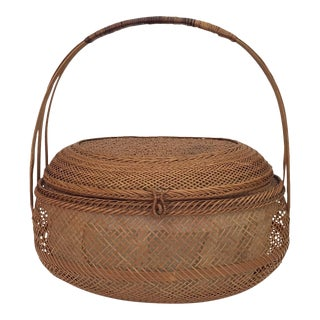 Oval Wicker Basket & Lid