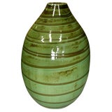 Image of Thai Contemporary Artisan Made Ceramic Vase With Swirled Green and Brown Glaze For Sale