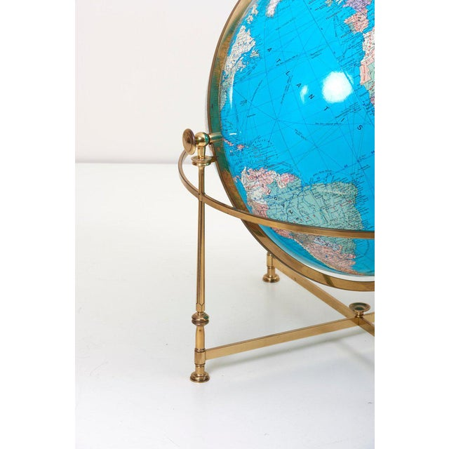 1970s Huge Vintage Illuminated Globe With Brass Stand For Sale - Image 5 of 13