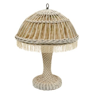 Heywood-Wakefield Wicker Lamp With Silk Shade For Sale