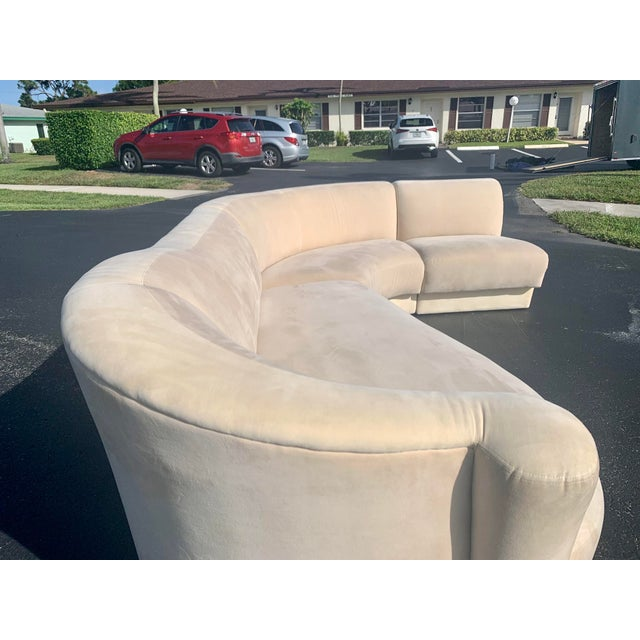 Vladimir Kagan for Weiman 3pc Scroll Back Sectional Sofa For Sale In Miami - Image 6 of 13