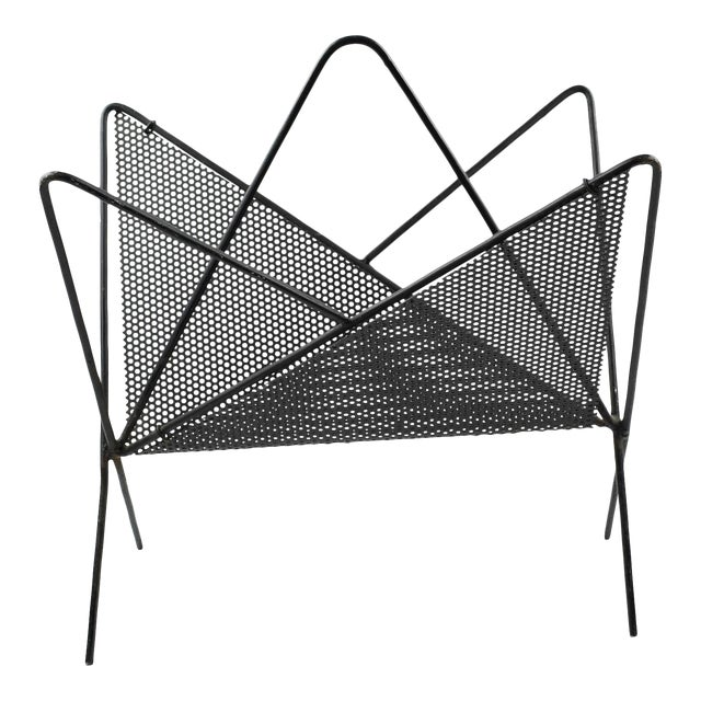 Mathieu Mategot Iconic Butterfly Magazine Holder Rack Black Perforated Metal For Sale