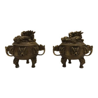 20th Century Chinese Bronze Incense Burners - a Pair For Sale