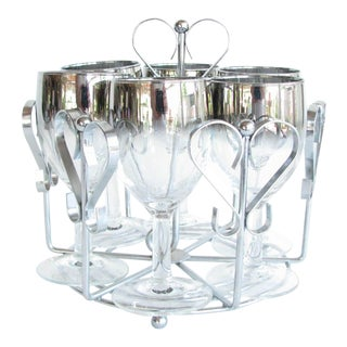 Queen's Lusterware Dorothy Thorpe Style Silver Fade Goblets Glasses With Rack - Set of 7 For Sale