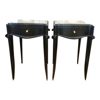Jean Pascaud Black Varnish and Gold Sabot Side Table For Sale
